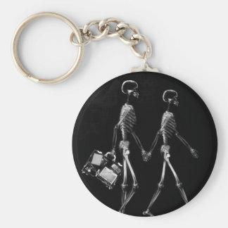 X-Ray Skeleton Couple Travelling Black White Keychain