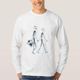 X-Ray Skeleton Couple Travelling - Blue T-Shirt