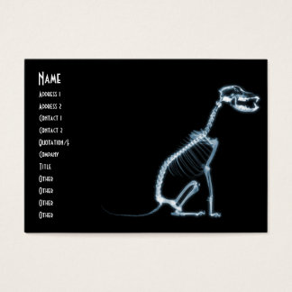 X-RAY SKELETON DOG SITTING - BLUE & BLACK BUSINESS CARD