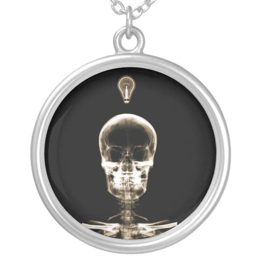 X-Ray Skeleton - Halloween - Radiology - Doctors Silver Plated Necklace