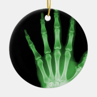 X-RAY SKELETON HAND FINGERS GREEN CERAMIC ORNAMENT