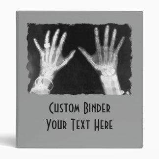X-Ray Skeleton Hands & Jewelry - B&W 3 Ring Binder