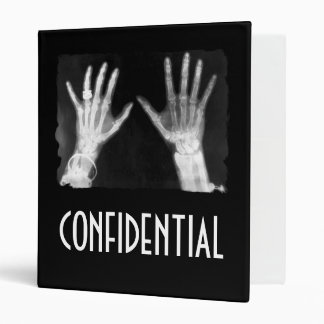 X-Ray Skeleton Hands & Jewelry -CONFIDENTIAL B&W Binder
