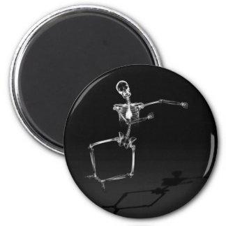 X-RAY SKELETON JOY LEAP B&W FRIDGE MAGNETS