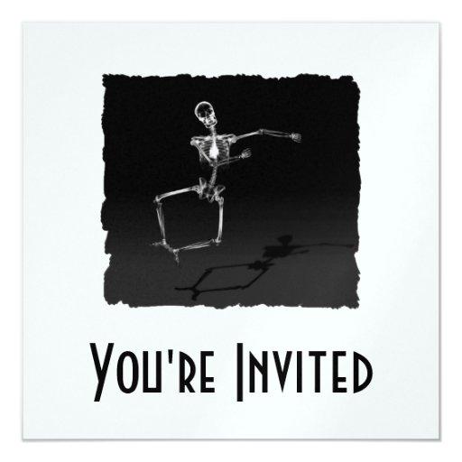 X-RAY SKELETON JOY LEAP B&W 5.25X5.25 SQUARE PAPER INVITATION CARD