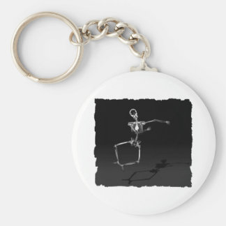 X-RAY SKELETON JOY LEAP B&W KEYCHAIN