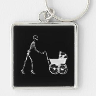 X-Ray Skeleton Mom & Baby - Original B&W Keychain