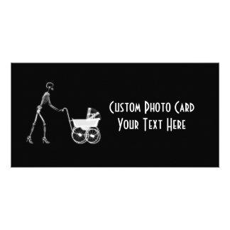 X-Ray Skeleton Mom & Baby - Original B&W Photo Greeting Card