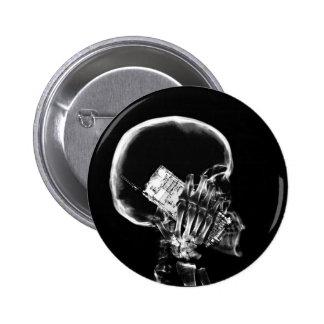 X-RAY SKELETON ON CELL PHONE BLACK & WHITE BUTTON