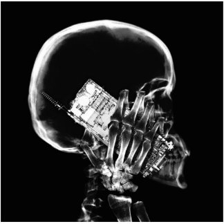 X-RAY SKELETON ON CELL PHONE BLACK & WHITE CUTOUT