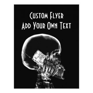 X-RAY SKELETON ON CELL PHONE BLACK & WHITE FLYER