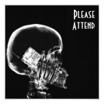"X-RAY SKELETON ON CELL PHONE BLACK & WHITE 5.25"" SQUARE INVITATION CARD"