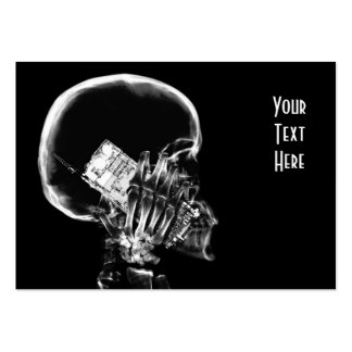 X-RAY SKELETON ON CELL PHONE BLACK & WHITE LARGE BUSINESS CARD