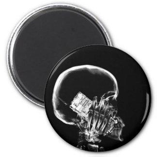 X-RAY SKELETON ON CELL PHONE BLACK & WHITE MAGNET