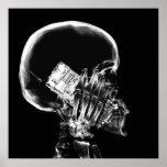 X-RAY SKELETON ON CELL PHONE BLACK & WHITE POSTER