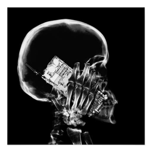 X-RAY SKELETON ON CELL PHONE BLACK & WHITE POSTERS