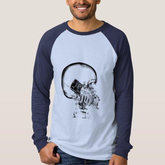 X-RAY SKELETON ON CELL PHONE BLACK & WHITE T-Shirt