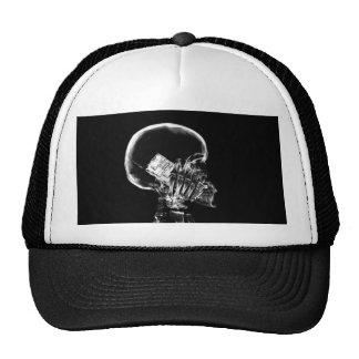 X-RAY SKELETON ON CELL PHONE BLACK & WHITE TRUCKER HAT