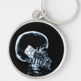 X-RAY SKELETON ON CELL PHONE BLUE KEYCHAINS