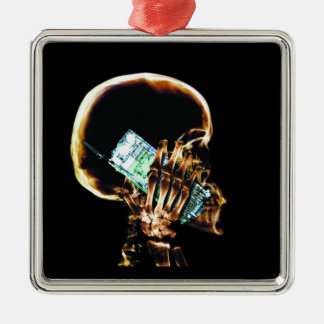 X-RAY SKELETON ON CELL PHONE CHRISTMAS ORNAMENTS