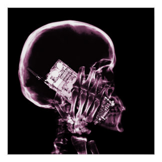X-RAY SKELETON ON CELL PHONE - PINK POSTER