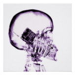 X-RAY SKELETON ON CELL PHONE - PURPLE POSTERS