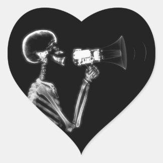 X-RAY SKELETON ON MEGAPHONE - B&W HEART STICKER