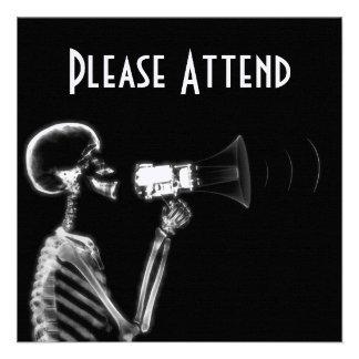 X-RAY SKELETON ON MEGAPHONE - B W CUSTOM ANNOUNCEMENTS