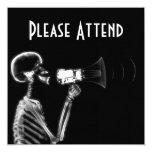 "X-RAY SKELETON ON MEGAPHONE - B&W 5.25"" SQUARE INVITATION CARD"