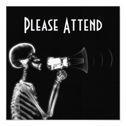 X-RAY SKELETON ON MEGAPHONE - B&W CUSTOM ANNOUNCEMENTS