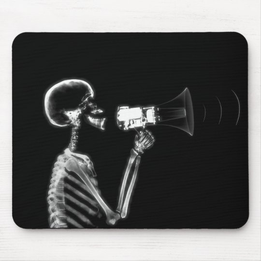 X-RAY SKELETON ON MEGAPHONE - B&W MOUSE PAD