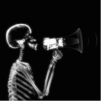 X-RAY SKELETON ON MEGAPHONE - B&W PHOTO CUTOUTS