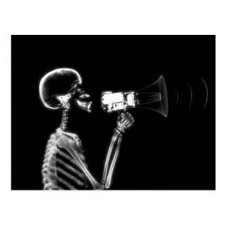 X-RAY SKELETON ON MEGAPHONE - B&W POST CARD