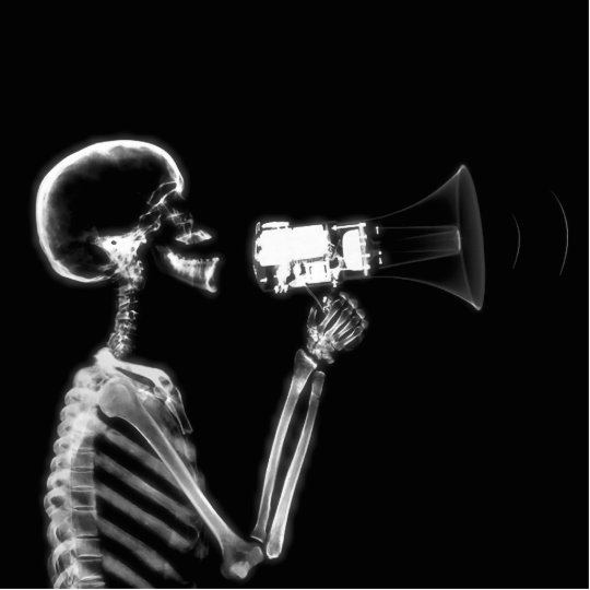 X-RAY SKELETON ON MEGAPHONE - B&W STATUETTE