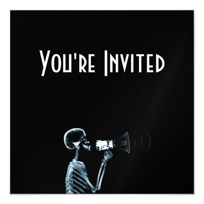 X-RAY SKELETON ON MEGAPHONE - BLUE CARD