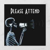 X-RAY SKELETON ON MEGAPHONE - BLUE INVITATION