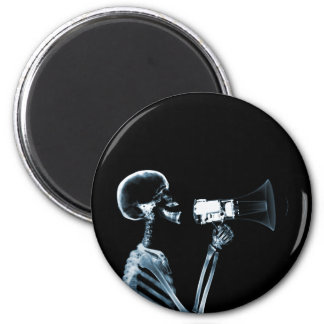 X-RAY SKELETON ON MEGAPHONE - BLUE MAGNET