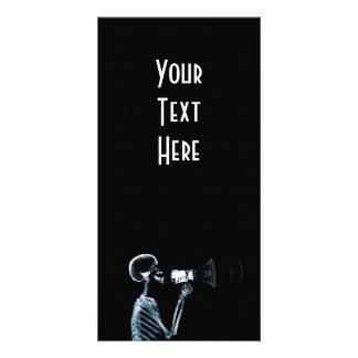 X-RAY SKELETON ON MEGAPHONE - BLUE CUSTOMIZED PHOTO CARD