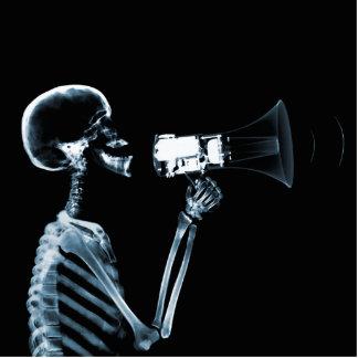 X-RAY SKELETON ON MEGAPHONE - BLUE STATUETTE