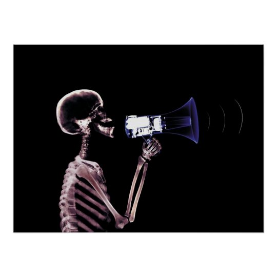 X-RAY SKELETON ON MEGAPHONE - ORIGINAL POSTER
