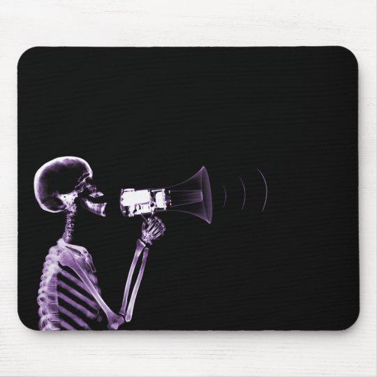 X-RAY SKELETON ON MEGAPHONE - PURPLE MOUSE PAD