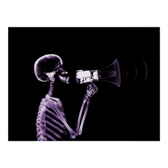 X-RAY SKELETON ON MEGAPHONE - PURPLE POSTER