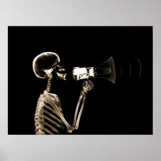 X-RAY SKELETON ON MEGAPHONE - SEPIA POSTER