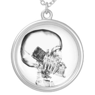 X-RAY SKELETON ON PHONE - B&W ROUND PENDANT NECKLACE