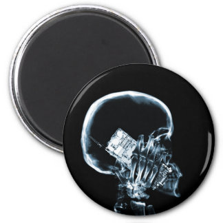 X-RAY SKELETON ON PHONE - BLUE 2 INCH ROUND MAGNET