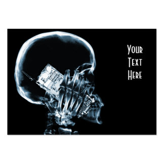 X-RAY SKELETON ON PHONE - BLUE LARGE BUSINESS CARDS (Pack OF 100)