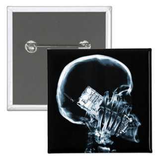 X-RAY SKELETON ON PHONE - BLUE PINBACK BUTTON