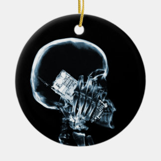 X-RAY SKELETON ON PHONE - BLUE CERAMIC ORNAMENT