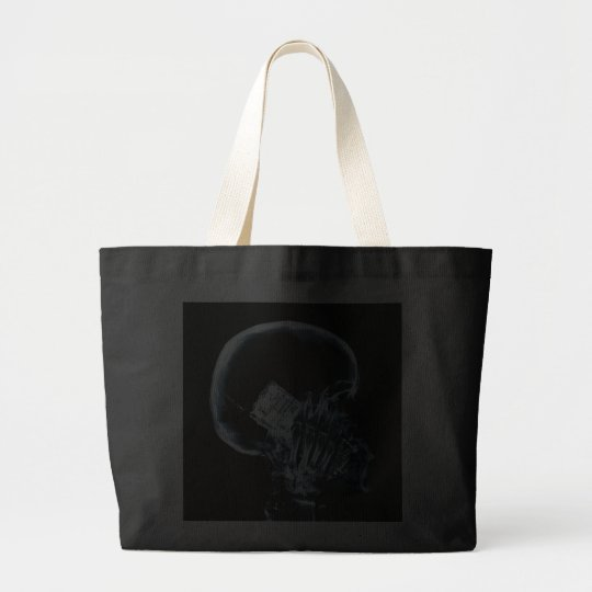 X-RAY SKELETON ON PHONE - BLUE LARGE TOTE BAG