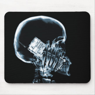 X-RAY SKELETON ON PHONE - BLUE MOUSE PAD